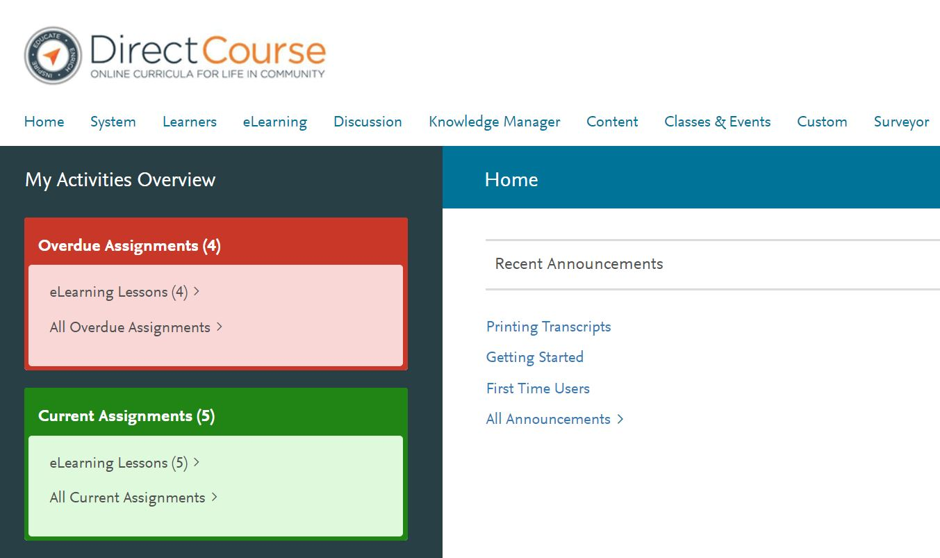 direct course login screen with user menu and activities overview